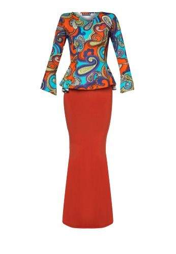 Orange Marsha Short Midi Kurung by Zuco Fashion features a contrasting pattern print design with peplum cut. Kurung Top - Polyblend - V- neckline - Long sleeves - Relaxed fit - Unlined Kurung Bottom - Polyblend - Elasticised waist - Mermaid silhouette - Unlined