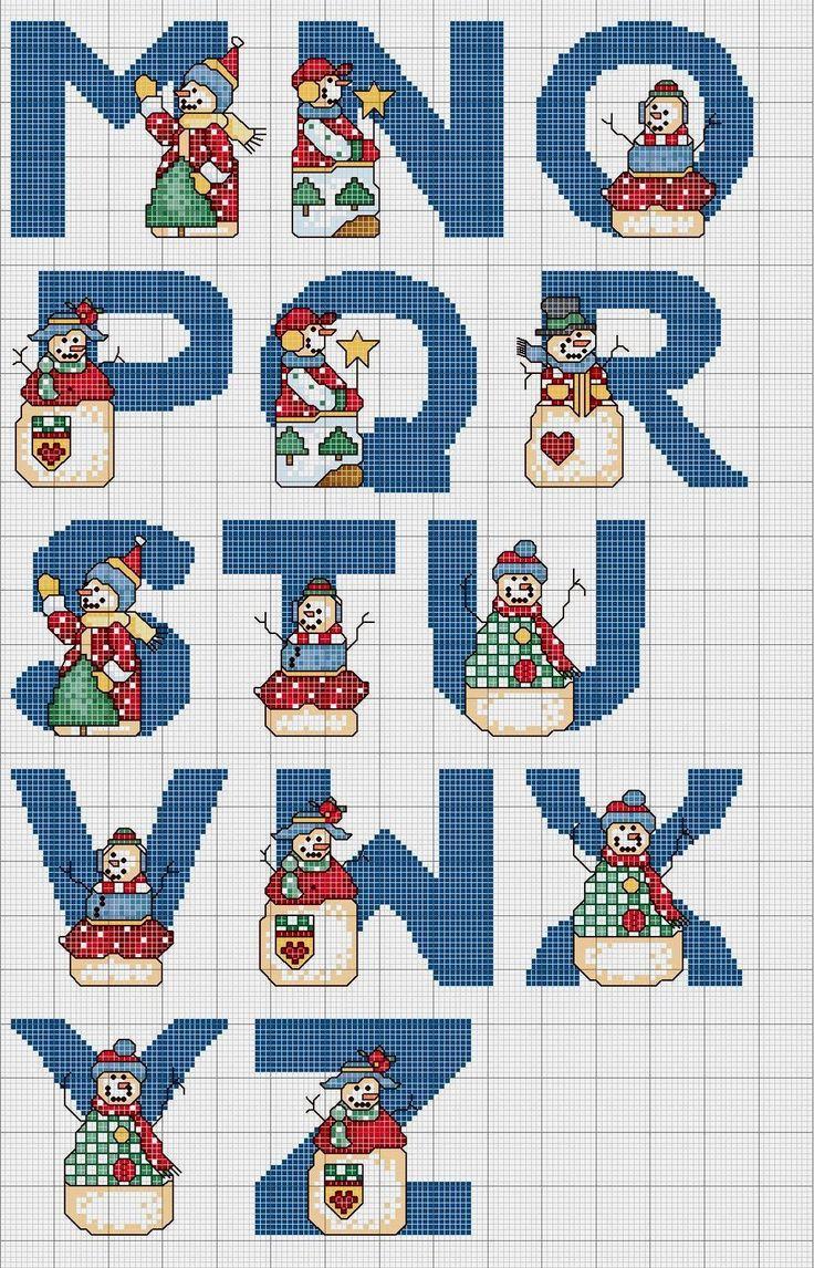 alfabeto de natal gráficos de ponto cruz