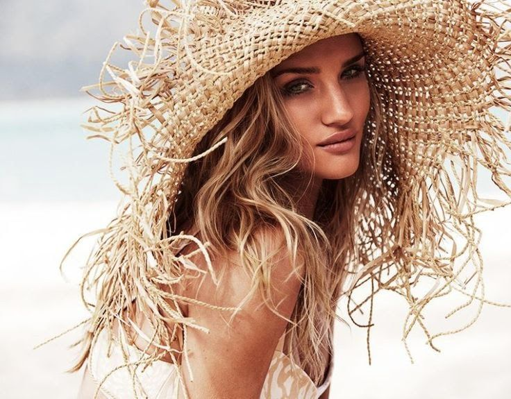 Rosie Huntington-Whitley in a Nerida Winter straw hat. #passion4hats