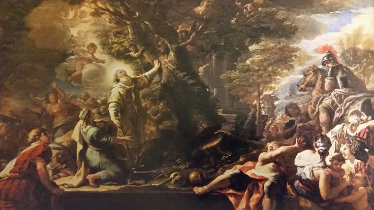 PAOLO DE MATTEIS. ST.NICHOLAS OF BARI FELLING A TREE INHABITED BY DEMONS. oil on canvas. 87,6 × 139,7 cm. Provenance : Paris, Lebel Collection; New York, Frederick Mont Collection; New York, Newhouse Galleries. Purchase : Fay and Barret Howell Fund.