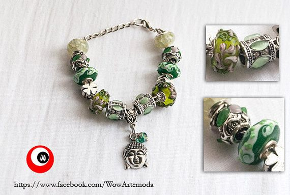 Green European Style Bracelet Good Luck with stunning green Murano Charms, Buddha, four-leaved clover and little green swarovski. by WoWArteModa, €9.90