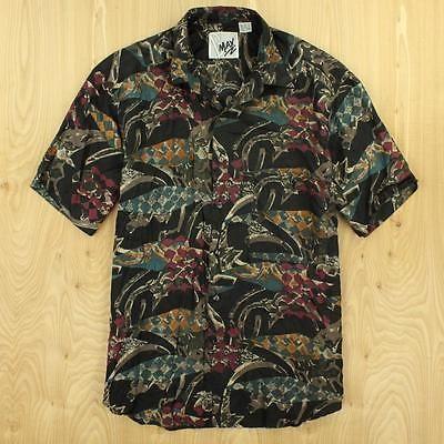 B-MAX-silk-abstract-print-shirt-SMALL-90s-swag-vtg-vaporwave-fresh-prince
