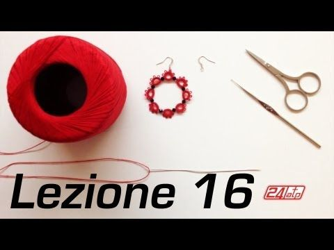 Chiacchierino Ad Ago - 19˚ Lezione Orecchino Cerchio Con Perline Bijoux - Tutorial Come Fare Tatting - YouTube