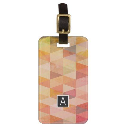 Soft Triangle Geometric Pattern | Monogrammed Luggage Tag - #customizable create your own personalize diy