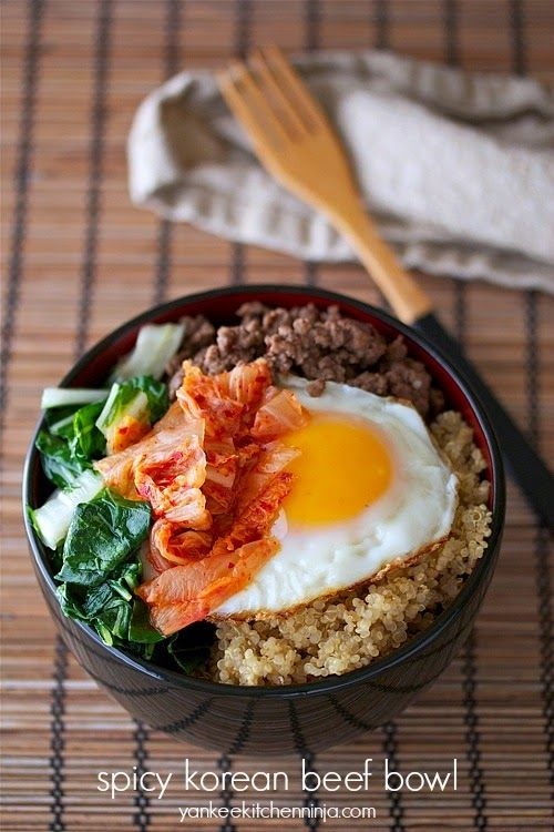 gluten free spicy korean no beef bowl with bok choy and kimchi