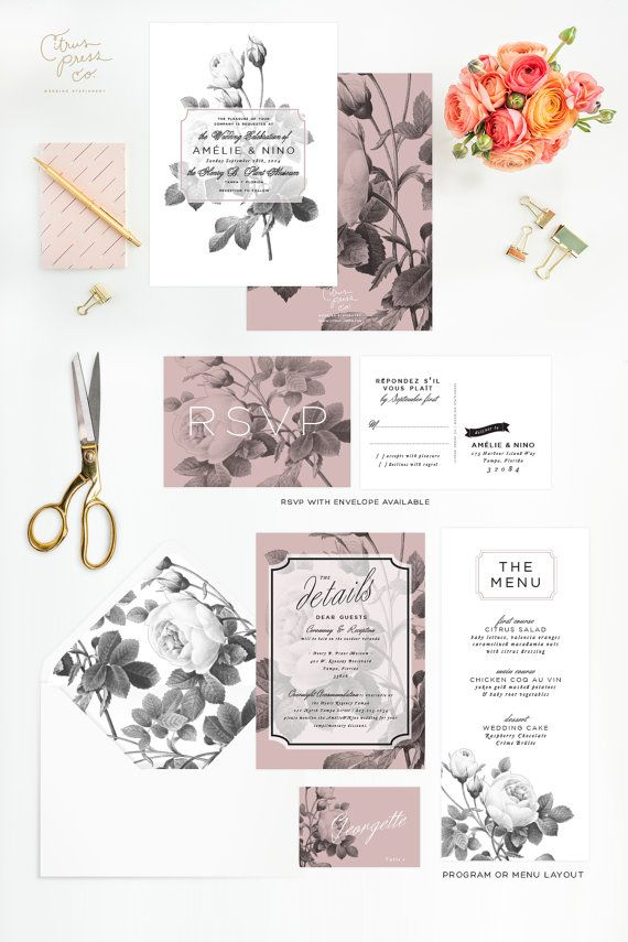 Rose Wedding Invitation in Black and White with Pink, Rustic Vintage Rose, Shabby Chic, Romantic invite