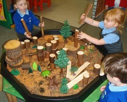 August- Great outdoors- Forest, tree, bark sensory bin
