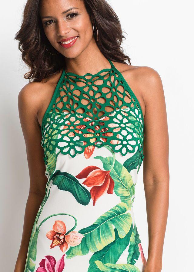 Sukienka W Kwiaty Bialo Zielony W Kwiaty Bonprix Sklep Tropical Maxi Dress Floral Maxi Dress Dresses