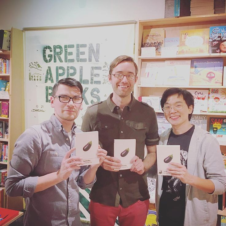 """Boss Fight Books Reading/""""Spelunky"""" Release Party. RtoL: Derek Yu (creator of Spelunky) Gabe Durham (founder of Boss Fight Books and author of """"Bible Adventures""""), misc. employee"""