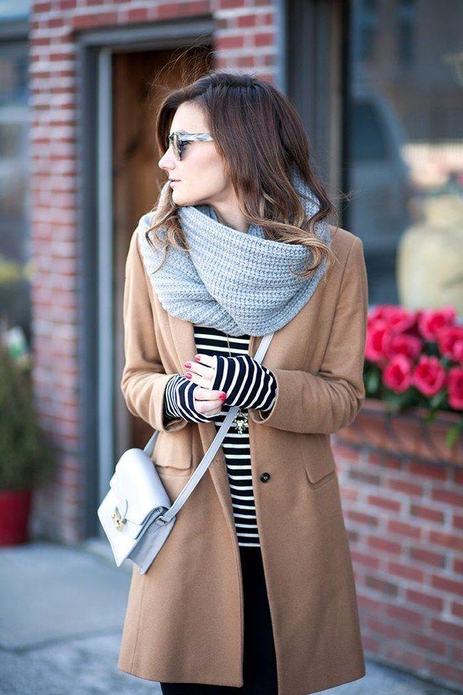 Camel jacket, stripes + grey scarf