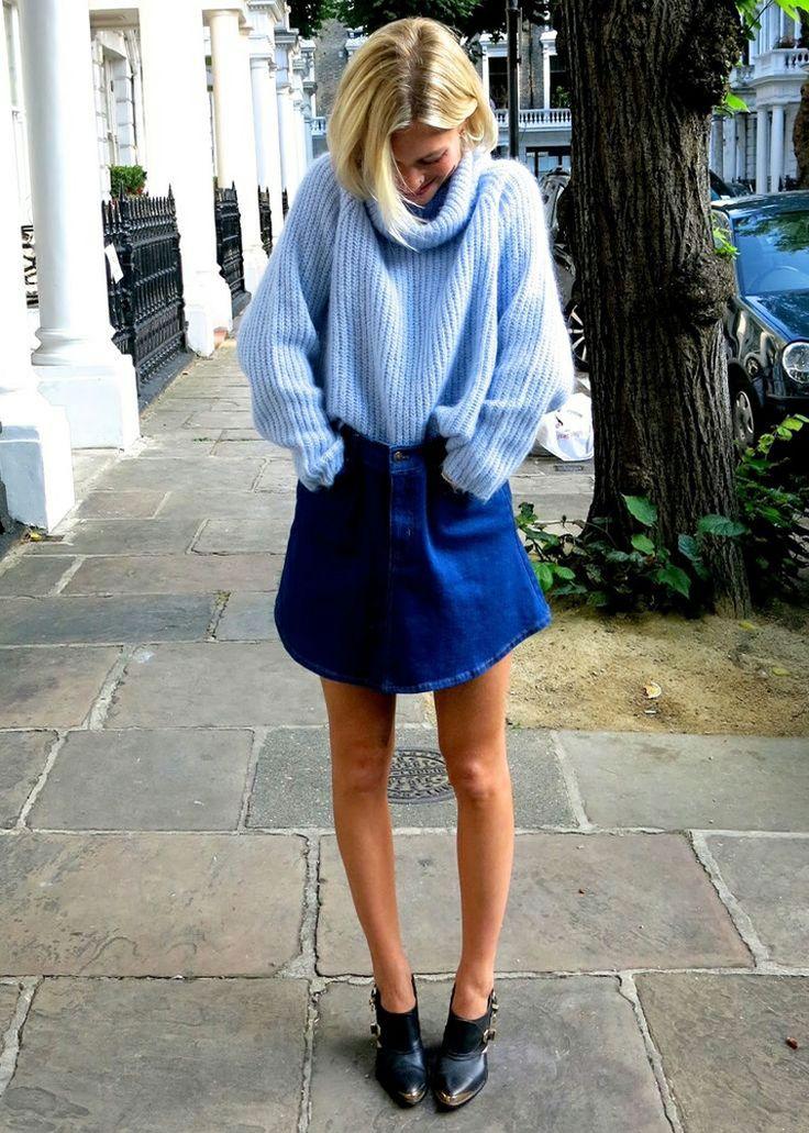chunky light blue turtle neck sweater/denim skirt