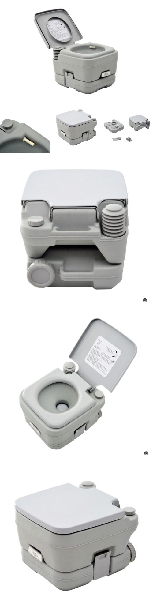 Portable Toilets And Accessories 181397 Camping Toilet Gray 28 Gallon Removable Waste Tank Travel