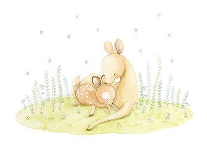 Ilustracion infantil mama ciervo
