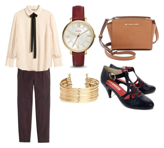 """""""Primsus #02"""" by oktaeprimsus on Polyvore featuring But Another Innocent Tale, FOSSIL, MICHAEL Michael Kors, H&M and J.Crew"""