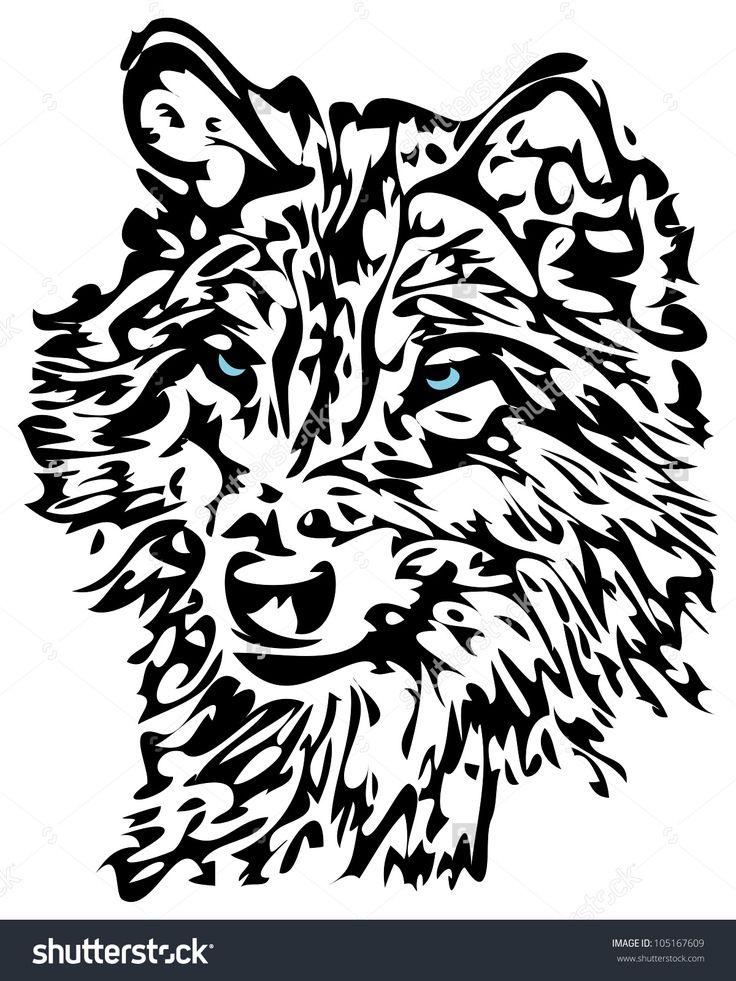 Tribal Wolf With Blue Eyes Animal Tattoo Design Stock Photo ...