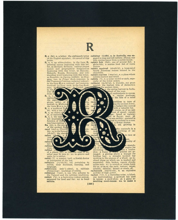 Initials printed on upcycled dictionary page via Etsy
