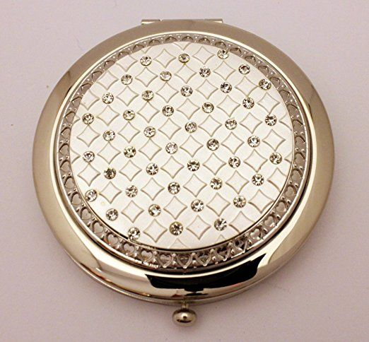 Luxury Lady handbag Compact Mirror with diamante finish :Perfect Present for Bridesmaid's, Birthday's, Valentine's, Mother's day or Christmas Free Gift boxes