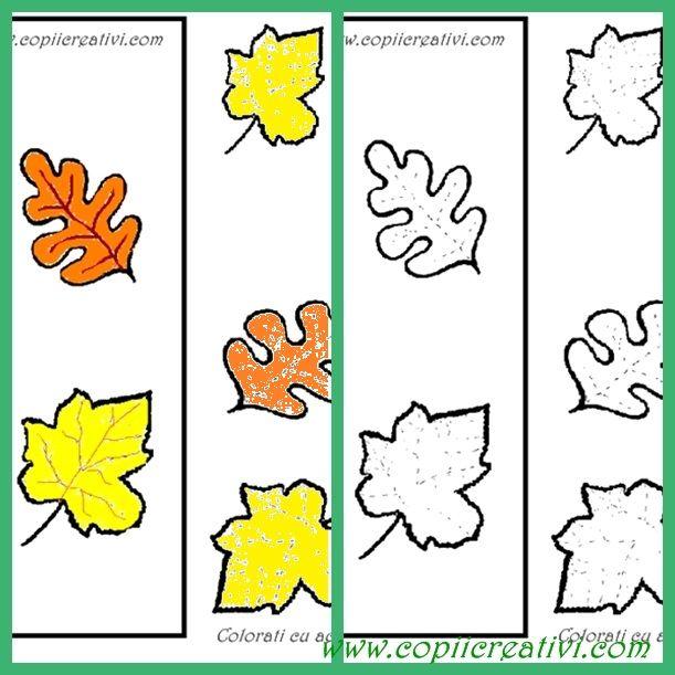 Ciuperca, contur cu sageti si frunze colorate- desene pentru copii mici