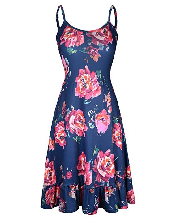 a3a275537b8e KILIG Women s Floral Print Sundress Adjustable Strappy Sleeveless Summer Swing  Dress(C001