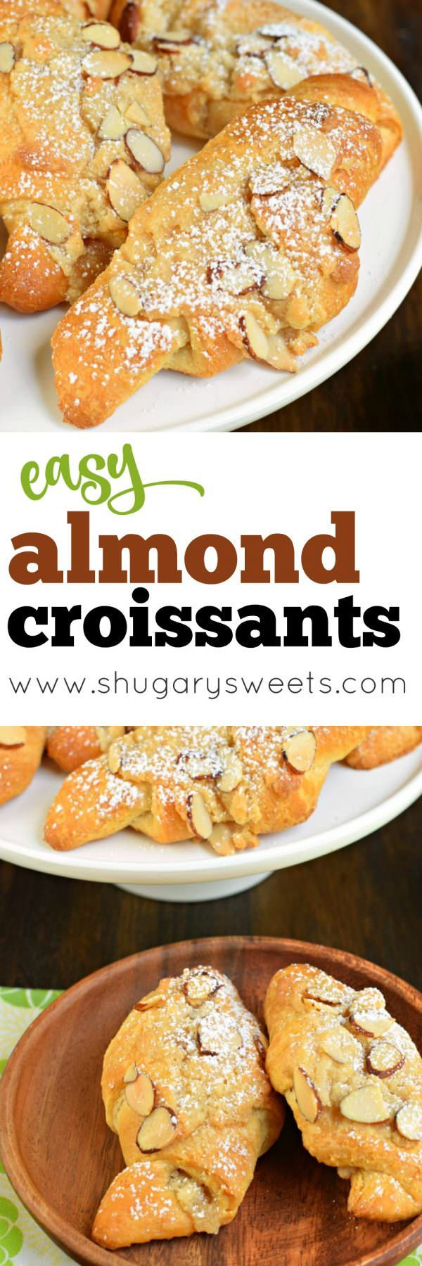 These Easy Almond Croissants are flaky and buttery and packed with a sweet almond filling and topping! You'll love how easy they are to make with crescent rolls, too!