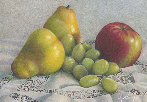 Delectable Temptations 2005, colored pencil, 5 x 7. Private collection. By Arlene Steinberg