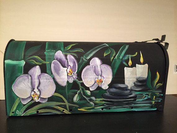 Zen mailbox Bamboo and Orchids  asian flavorTropical by OlenkasArt