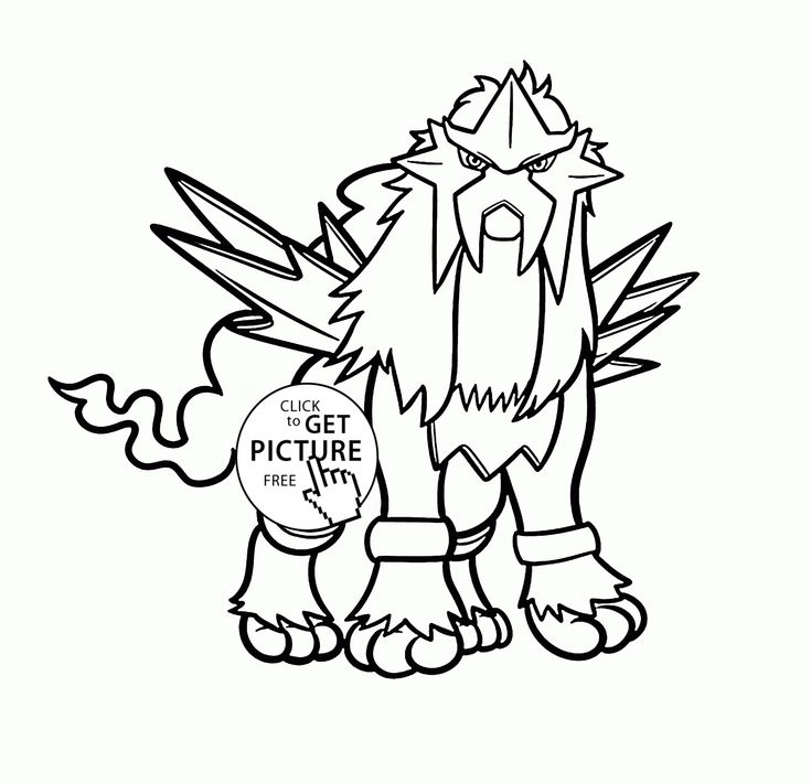 Legendary Pokemon Entei coloring pages for kids, pokemon characters printables free - Wuppsy.com
