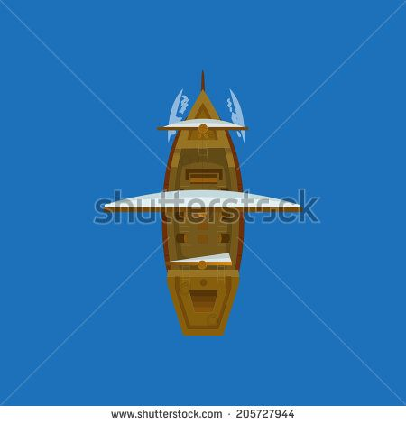 Sailing ship top view. Vector design for app game user interface