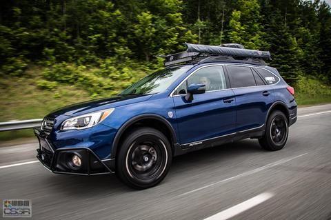 "Make: Subaru Model: Outback 2.5i groupe Tourisme / Option Ensemble TechnologieYear: 2016 Color: Bleu lapis nacré Modifications: Tires: 245/65R17 BFGoodrich All Terrain T/A KO2 Wheels: Fast Wheels FC-01 17x8+40 Lift kit: 2"" LP Aventure Skid plate: LP Aventure Bumper Guard: LP Aventure LED bar: RTXline Cargo basket: Yakima Load Warrior + Extension + Spare Tire Carrier Bike Rack: Yakima Boa Awning: ARB Awning 2000"