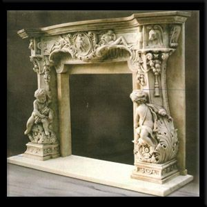 Statuary Carved Design Fireplace Mantel Marble For