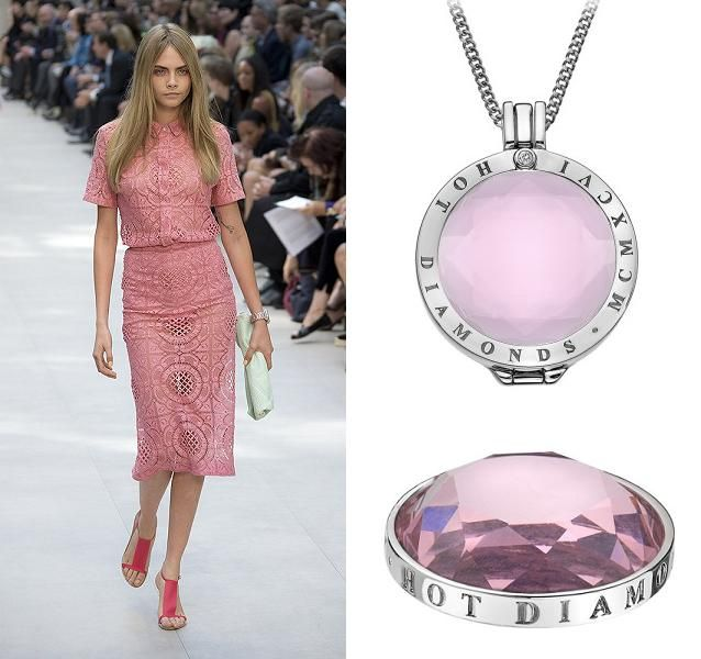 During London Fashion Week, pink made another bold appearance, with designers such as Burberry making their tailored pieces classic but feminine. Follow in Cara's footsteps this winter and add some pink to your wardrobe with the Hot Diamonds Emozioni Rose Coin.  (Runway photography by Isidore Montag)