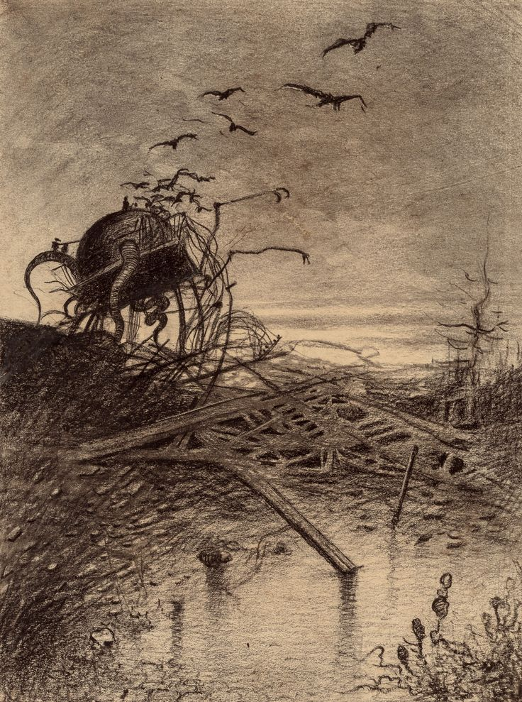 HENRIQUE ALVIM CORRÊA (Brazilian, 1876-1910) Wrecked Martian Handler, from The War of the Worlds, Belgium edition, 1906 Ink and charcoal on paper laid on cardstock
