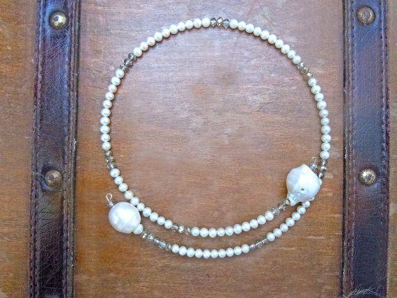 Collana girocollo con cristalli e perle di fiume, collana cristalli, collana girocollo, collana perle, collana perle barocche