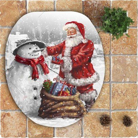 Nonslip Father Christmas and Snowman Pattern 3Pcs Bathroom Mats Set