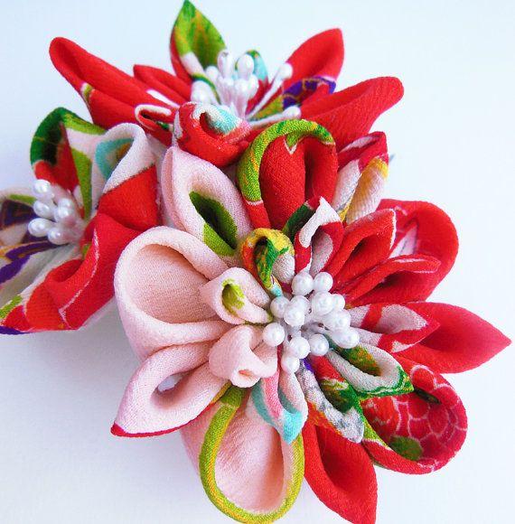 Sale Pink Spring Floral Tsumami Kanzashi Hair Comb Silk Flower