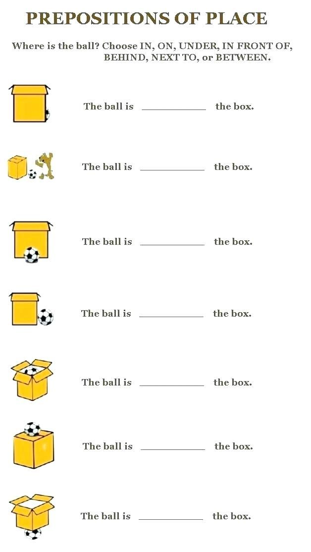 Preposition Place Worksheets Of Prepositions Worksheet With Pictures ...