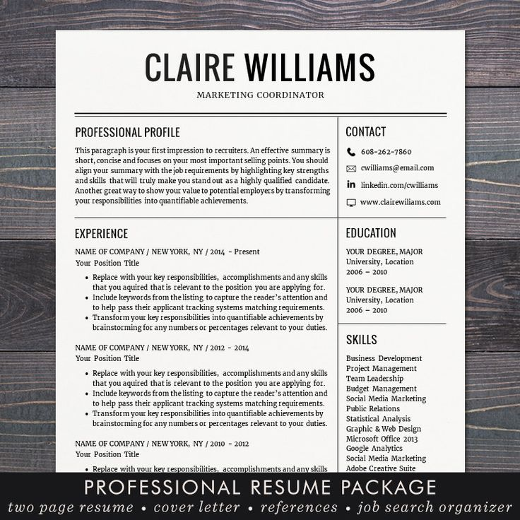 Resume / CV Template Free Cover Letter Instant Download Mac