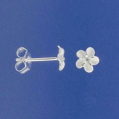 Sterling Silver White Frangipani Flower Studs Earrings 6mm Small Wedding 925 Clr