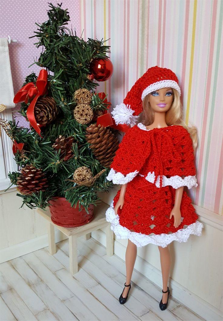 135- FICHE PATRON CROCHET Robe Merry Christmas pour poupée Barbie : Jeux, jouets par atelier-crochet