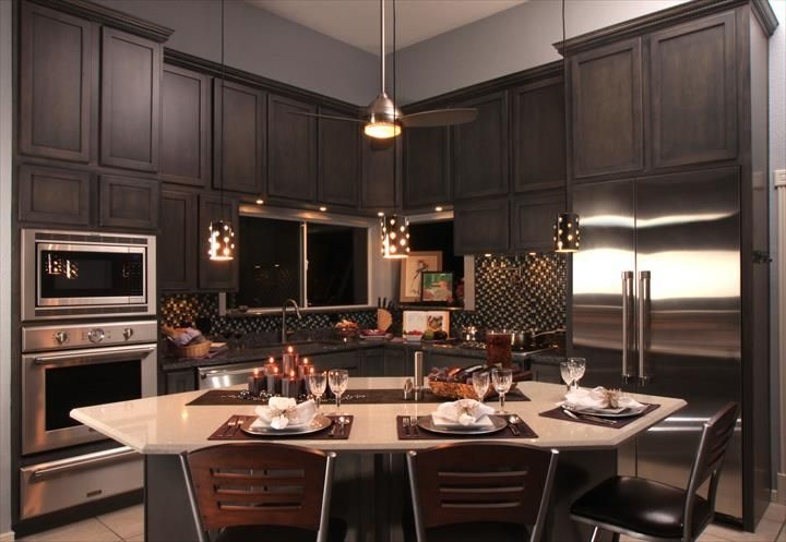 Traditional Thermador kitchen featuring Freedom refrigeration, Professional combo over with microwave, oven and warming drawer, custom insert ventilation and gas cooktop and dishwasher
