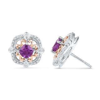 5.2mm Cushion-Cut Amethyst and 0.16 CT. T.W. Diamond Stud Earrings in Sterling Silver and 10K Rose Gold | View All Earrings | Earrings | Peoples Jewellers