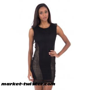 Black Bodycon Dress With Fishnet And Diamante Detail
