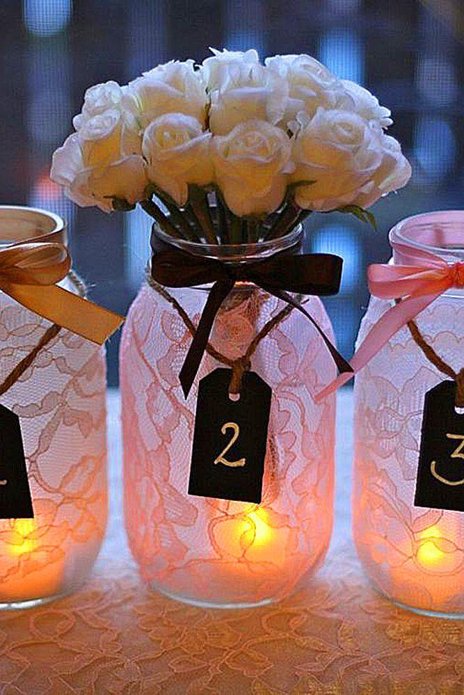 12 Gorgeous Mason Jars Wedding Centerpieces ❤ See more: http://www.weddingforward.com/mason-jars-wedding-centerpieces/ #weddings #decorations