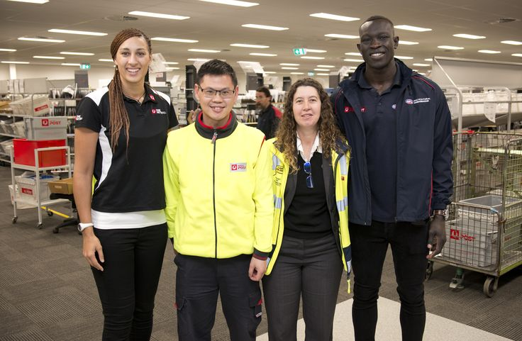 Australia Post staff at the North Melbourne delivery facility were visited by AFL player Majak Daw of North Melbourne Football Club and One Netball Ambassador Geva Mentor of the Melbourne Vixens as part the 2016 Toyota AFL Multicultural Round. They shared their personal stories of how their sport participation has helped them and their families to build stronger ties within the Australian community. Learn more: http://auspo.st/1I78lc7 #NetballAustralia #AFLMulticulturalRound#AFL