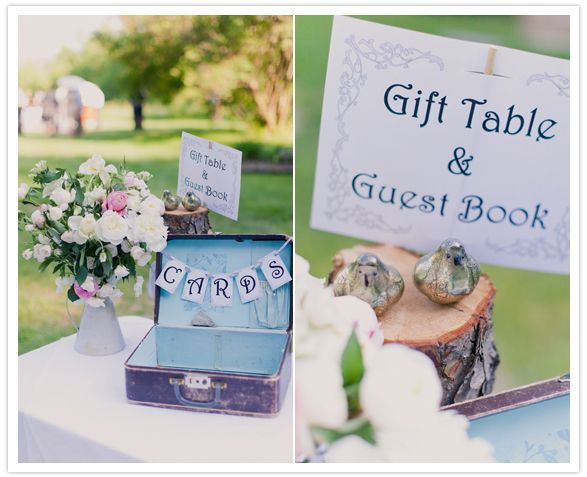 gift table sign and vintage luggage for cards