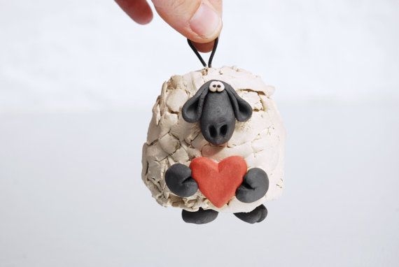 Love Ewe Sheep Ornament Bell for Valentines Day by ShopBeckyZee