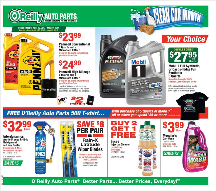 O Reilly Auto Parts April 26 - May 30, 2017 - http://www.olcatalog.com/oreilly-auto/oreilly-auto-parts.html