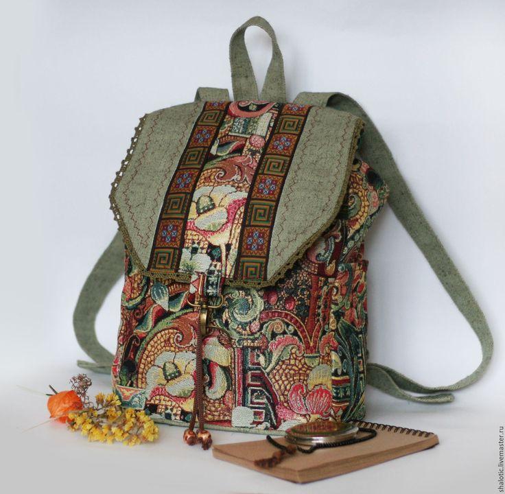 """Купить Гобеленовый рюкзак """"Океан трав"""" - рюкзак, рюкзачок, сумка-рюкзак, летний рюкзак"""