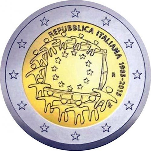 moneda Italia 2 euros 2015. 30 Años bandera de Europa., Tienda Numismatica y Filatelia Lopez, compra venta de monedas oro y plata, sellos españa, accesorios Leuchtturm