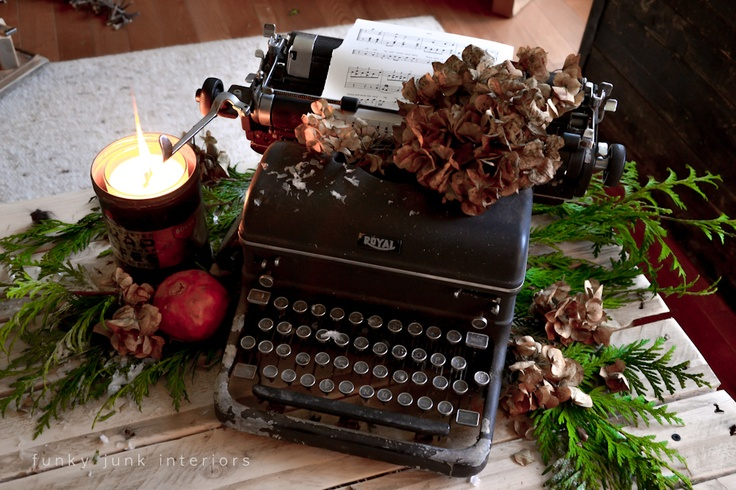 Day 7: Vintage black typewriter for a Christmas vignette or centrepiece, by Funky Junk Interiors #12daysofchristmas